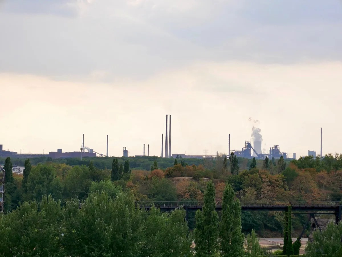 Smoking chimney stacks Ruhr Germany