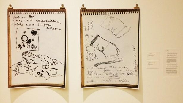 Sidsel Paaske. 1. Vi. Provie och sophôgen, skisse. 1966. og 2. Sneip og Brent fyrstikk, skisse. 1966. Foto: Fra utstillingen. Siri Wolland.