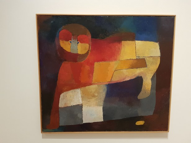 Ut av mørket, 1959. Olje på lerret. Irma Salo Jæger. Foto fra utstillingen: Siri Wolland