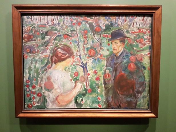 Edvard Munch, Under de røde epler, 1913-15. Foto fra utstillingen: Siri Wolland