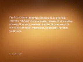 Sitat fra Knausgård, på veggen i avdelingen De andre. Foto fra utstillingen: Siri Wolland