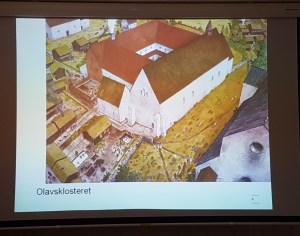 Olavsklosteret ca 1300. Illustrasjon Karl-Fredrik Keller. Foto fra foredrag: Siri Wolland