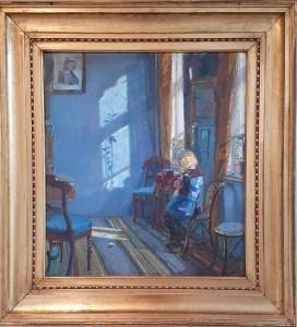 Anna Ancher, Solskin i den blå stue, 1913. Foto fra utstillingen; Siri Wolland.