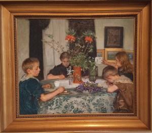 Viggo Johansen, Børn, der maler forårsblomster, 1894. Foto fra utstillingen; Siri Wolland.