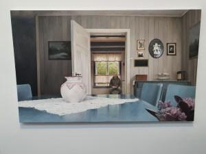 """Eirik Moldestad Halvorsen, """"Over i gamlehusa"""", 2019. Foto fra utstillingen Siri Wolland."""