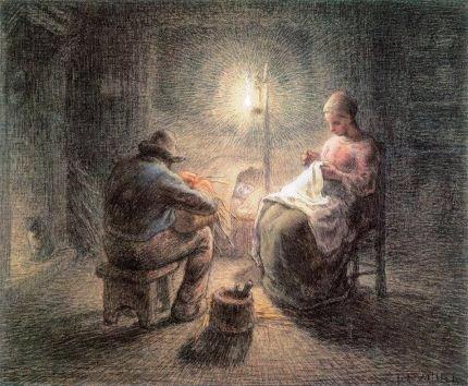 J.F. Millet, Serata d'inverno, pastello su carta, 1867