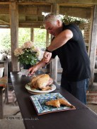 Paul carving turkey, Kelly Bronze, Essex