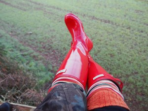 Red hunter wellies in Cornwall