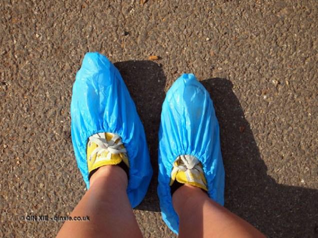 Shoe covers at Copas farm