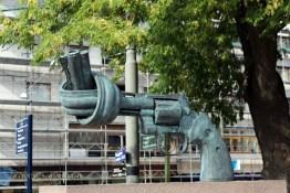 Gun sculpture in Gothenburg, West Sweden