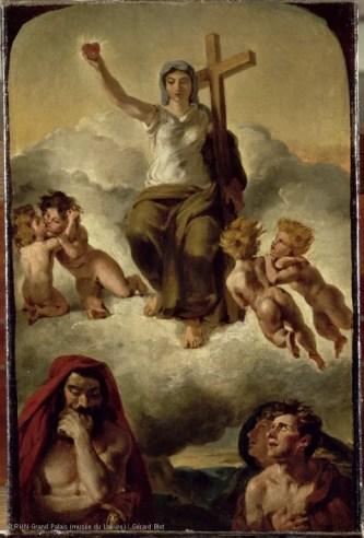 """Eugène Delacroix, """"Esquisse pour la Vierge du Sacré-Coeur"""", 1821"""