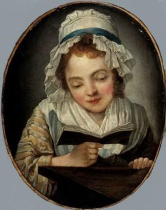 La liseuse, copie par Marie-Louise-Adélaïde Boizot d'un tableau de Greuze gravé en 1766, 18e siècle, Paris, musée Cognacq/Roget Viollet