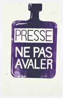 Presse ne pas avaler. Affiche sérigraphiée de l'Atelier Populaire, Coll. des Beaux-Arts de Paris