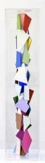 CHRISTIAN MEGERT / S.T., 2018, sculpture (multi colored), wood, mirror, acrylic, under plexi, 80 x 17 x 17 cm
