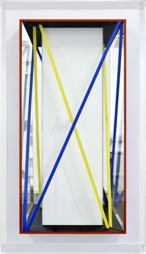 CHRISTIAN MEGERT / S.T., 2017, wood, mirror, acrylic, under plexi, 140 x 80 x 12 cm