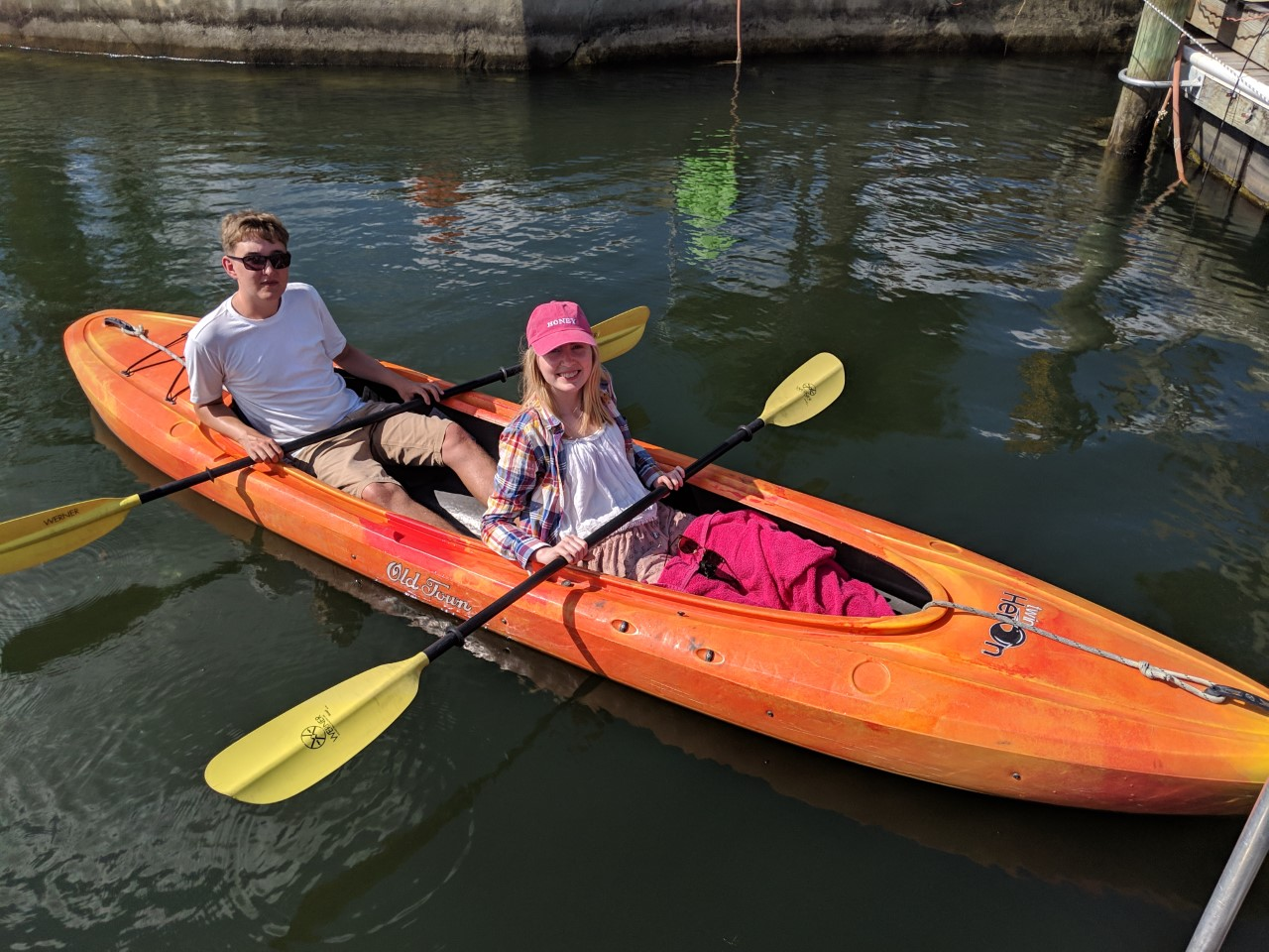 sitting in a kayak in Florida