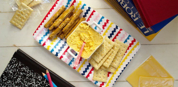 back to school snack of homemade snack cheese (commercially known as handisnacks) with pretzels and crackers