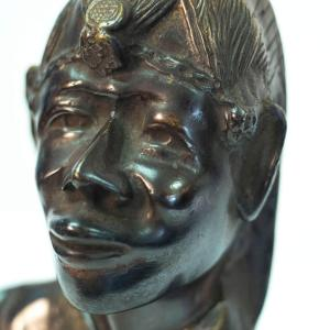 bronze bust, african maasai warrior, closeup