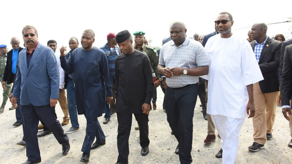 R-L: Chairman, Forte Oil Plc., Mr. Femi Otedola, Lagos State Governor, Akinwunmi Ambode; Vice President, Prof. Yemi Osinbajo; President, Dangote Group, Alhaji Aliko Dangote and Group Executive Director, Dangote Projects, Mr. Devarcoma Edwin during a visit to Dangote's Lekki refinery