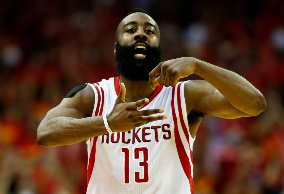 James Harden #13 of the Houston Rockets celebrates in the fourth quarter against the Los Angeles Clippers during Game Seven of the Western Conference Semifinals at the Toyota Center for the 2015 NBA Playoffs on May 17, 2015 in Houston, Texas. (Photo by Scott Halleran/Getty Images)