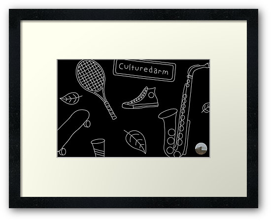 Culturedarm Black and White Lines Small Framed Print