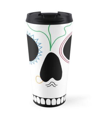 Floral Seafaring Skull Travel Mug
