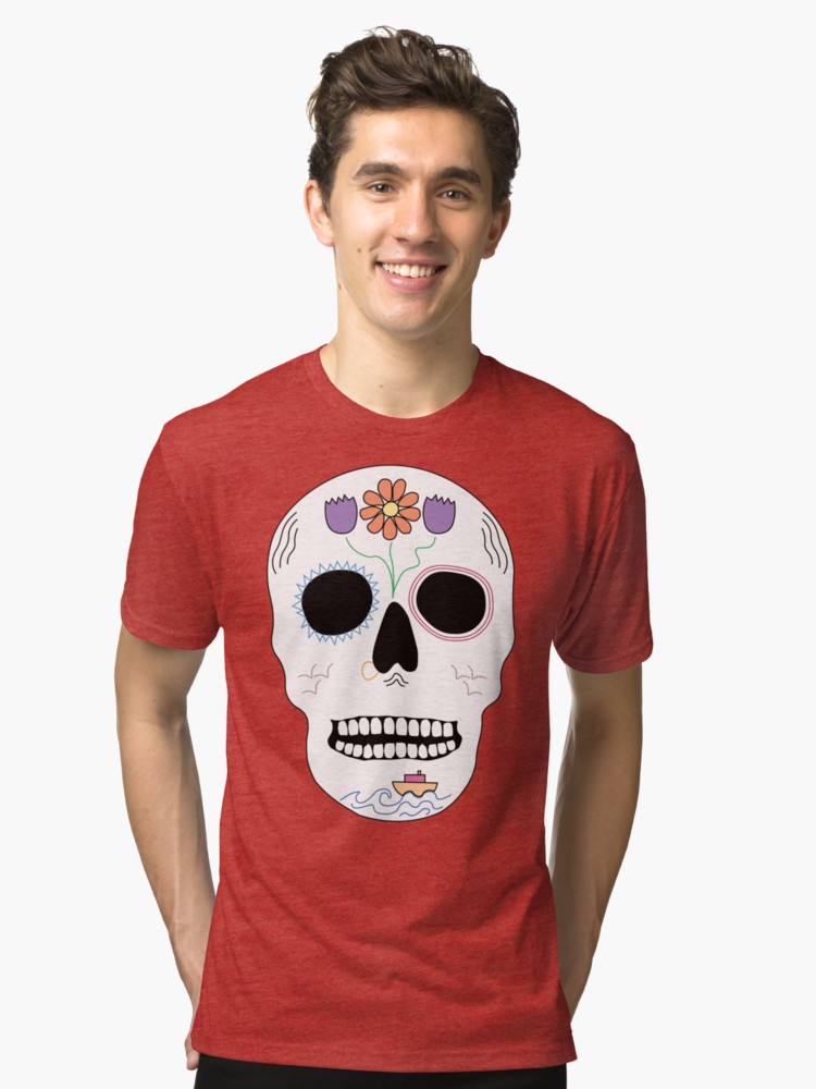 Floral Seafaring Skull Red Tri-Blend T-Shirt