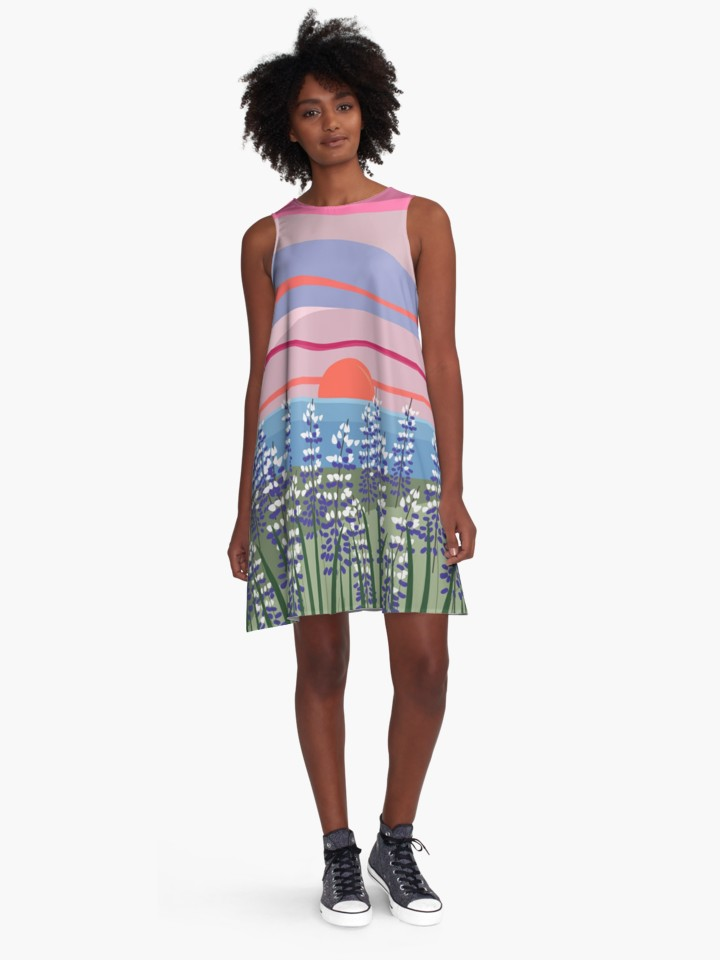 Reeds and Rising Sun A-Line Dress