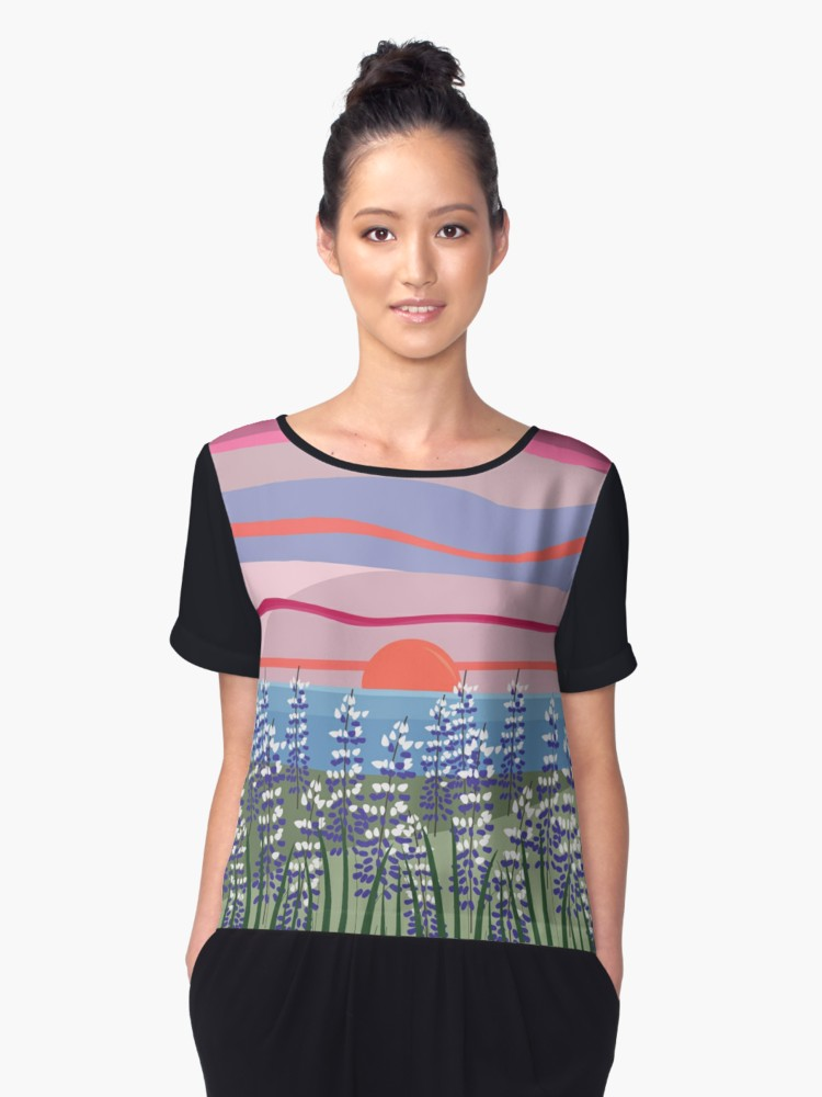 Reeds and Rising Sun Chiffon Top