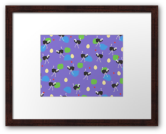 Strolling Ostriches Small Framed Print