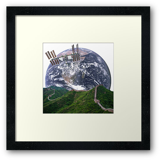 Parallax Great Wall from Space Framed Print