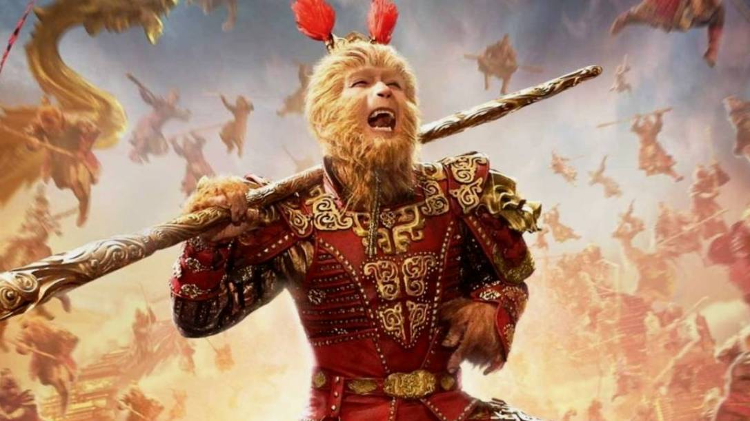 "The movie poster for ""The Monkey King"", depicting Yen in monkey face prosthetics and traditional Chinese warrior armour."