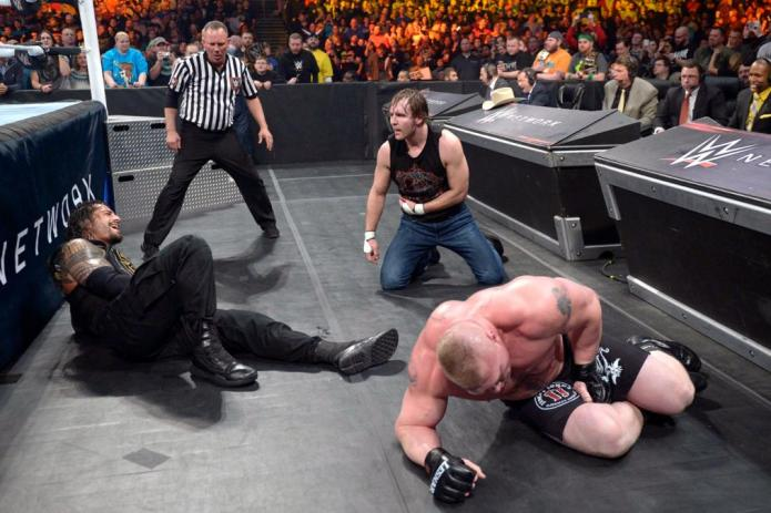 Ambrose, Lesnar and Reigns at Fastlane 2016
