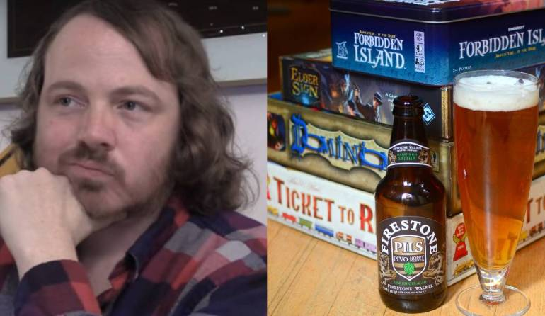 Aaron Yonda, beside an image of beer and a pile of board games