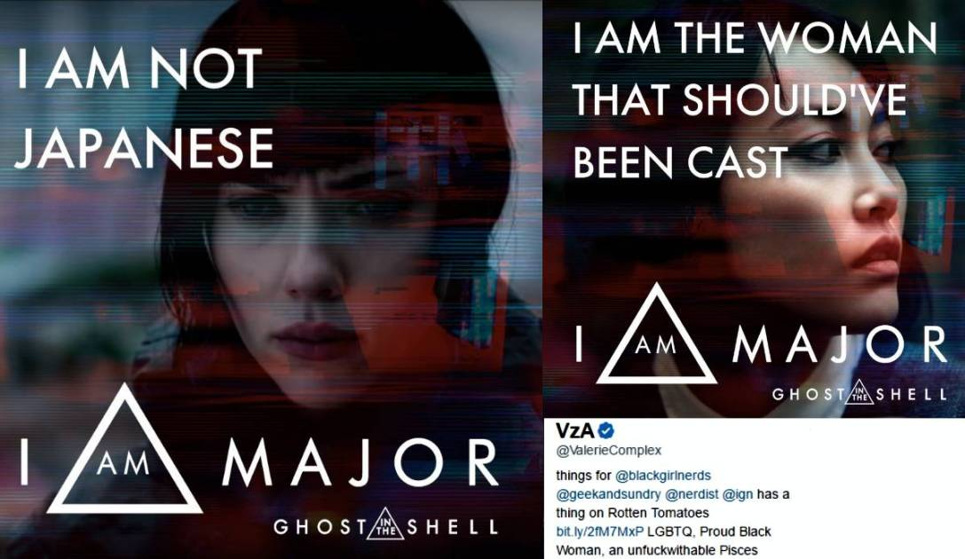 A series of tweets decrying the whitewashing in Ghost in the Shell
