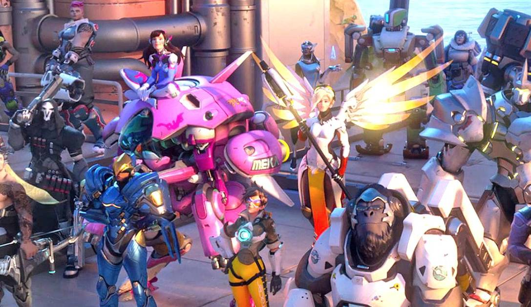 A screenshot of some of the Overwatch heroes