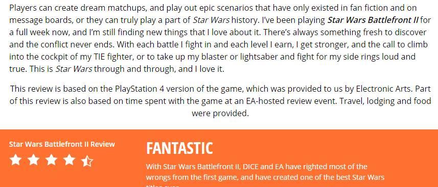 Battlefront 2 review events