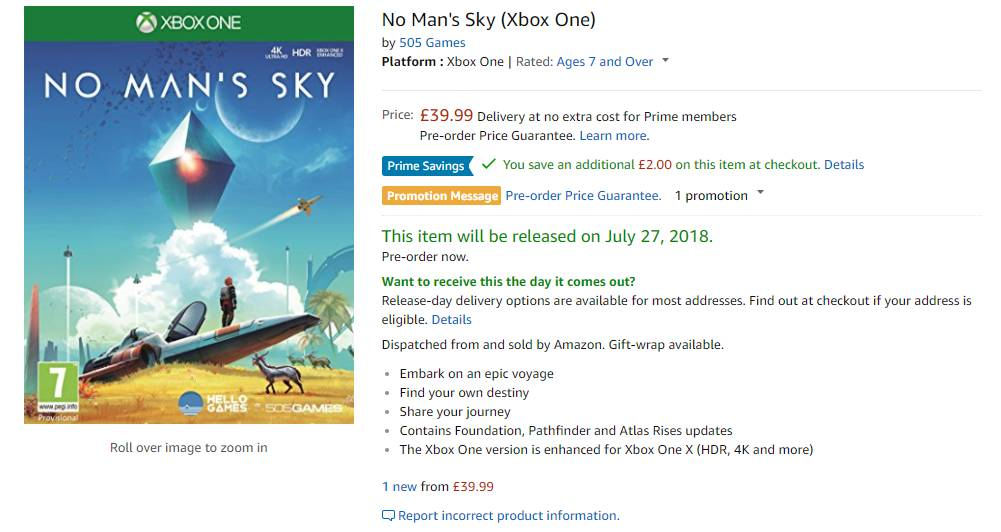 No Man's Sky Xbox One UK