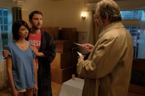 Kate Micucci as Claire, Sam Huntington as Paul, and Dan Harmon as Lt. Bloyce J.P. Cartwright in 7 STAGES TO ACHIEVE ETERNAL BLISS BY PASSING THROUGH THE GATEWAY CHOSEN BY THE HOLY STORSH.