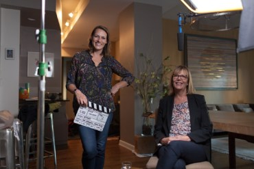Director Amy Adrion and Chris Hegedus behind the scenes of Half the Picture.