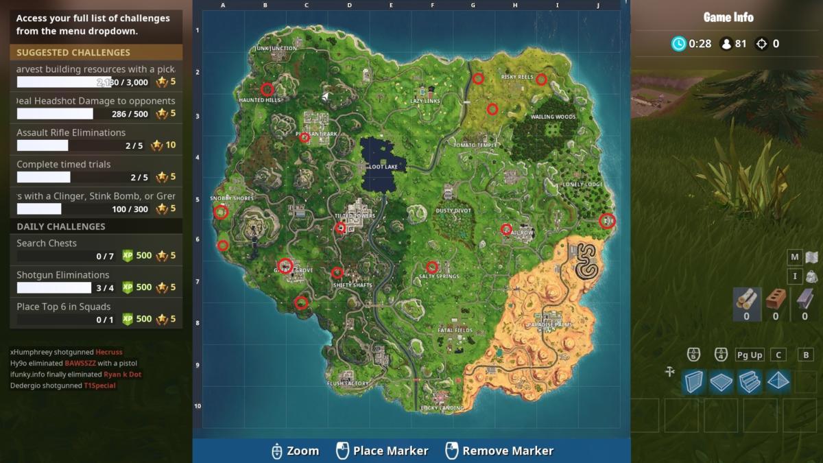 jigsaw puzzle piece location map - jigsaw puzzle piece locations fortnite season 8