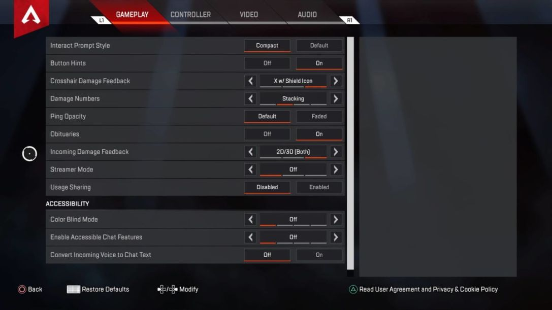 Apex Legends Gameplay Settings
