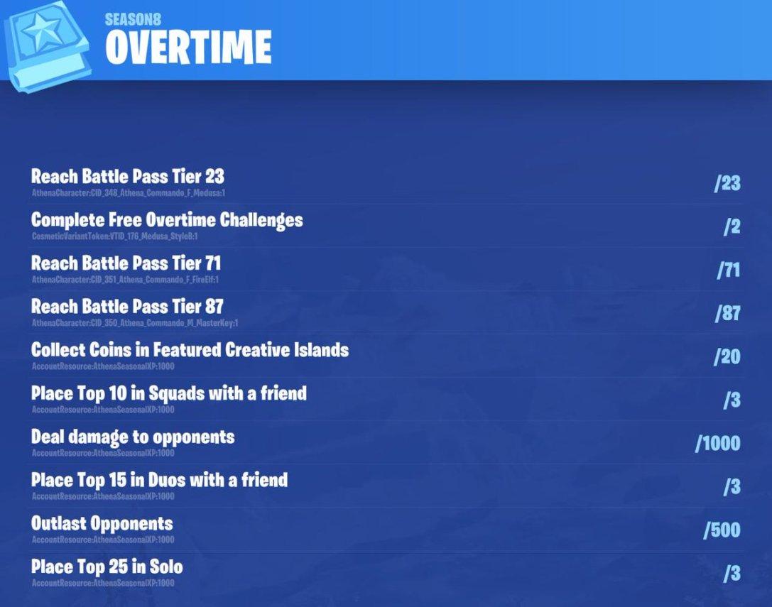 Fortnite Season 8 Overtime Challenges