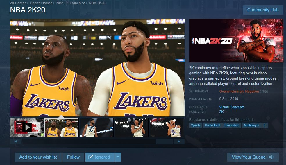 NBA 2K20 Is Getting Review Bombed To Hell On Steam