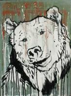 NOBA, Orso, gesso e acrilico su tela, 50x70 cm