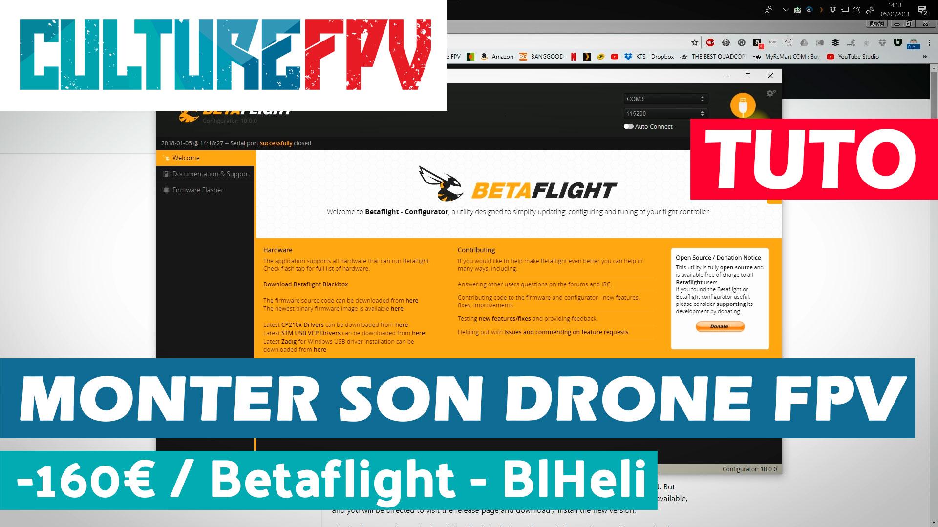 Drone racer FPV pas cher Betaflight 3.2 et BlHeli
