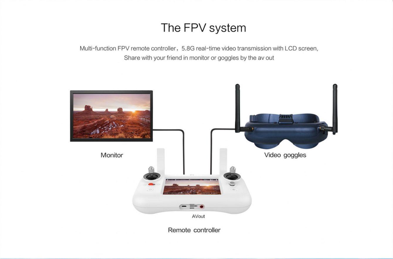 Le retour semble être analogique car il est possible de connecter des lunettes  FPV via une sortie AV-Out. 35ea385573e9