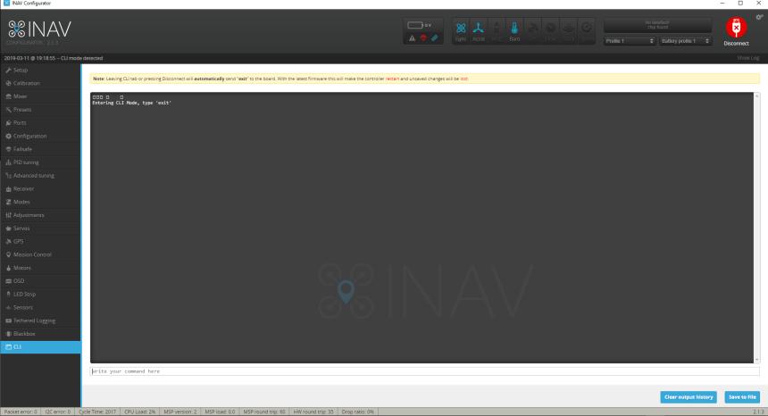 INAV Configurateur Configurator CLI
