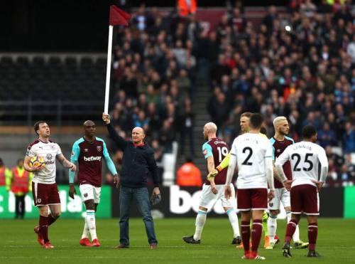 West Ham United fan with corner flag - West Ham v Burnley