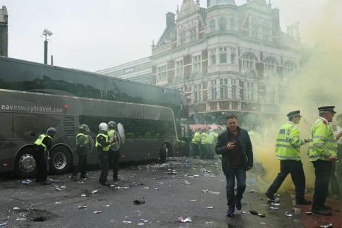 West Ham United v Manchester United Upton Park bus